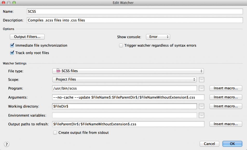 PhpStorm Sass File Watcher Settings