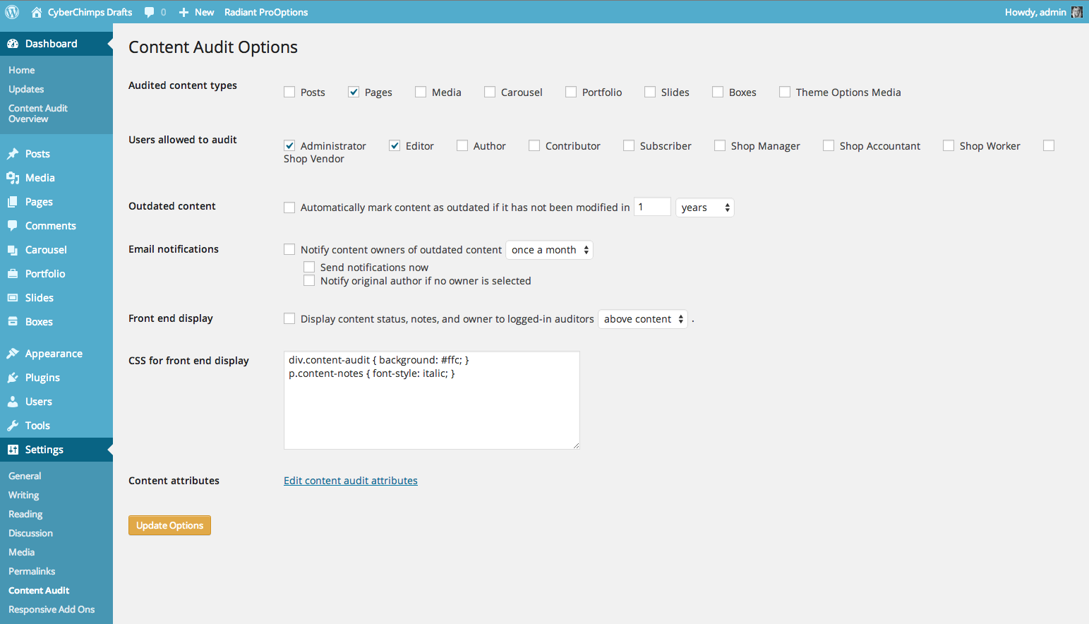 Content Audit Settings screen